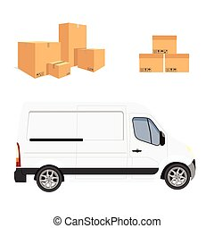 White minivan truck - Vector illustration white truck or van...