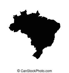 Brazil map vector - Vector illustration black map silhouette...