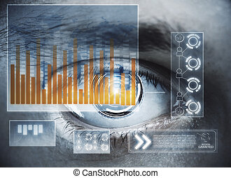 Future and biometrics concept - Abstract digital eye with...