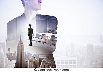 Tomorrow concept - Abstract image of thoughtful businessman...