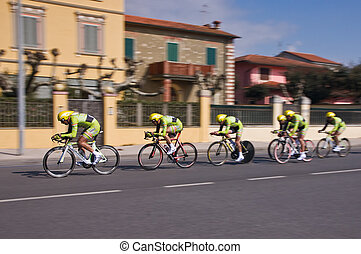 Bicyclists - Cycle race in italian town Rimini
