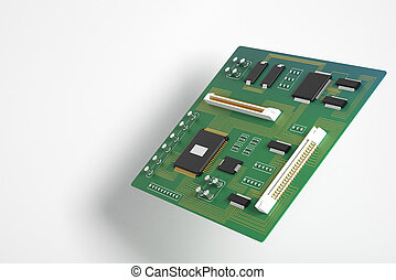 Green motherboard side - Side view of green motherboard on...