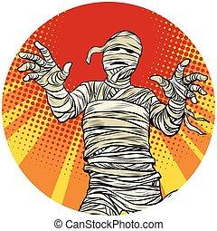 Egyptian mummy walking pop art avatar character icon -...