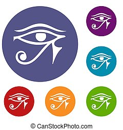 Eye of Horus Egypt Deity icons set in flat circle red, blue...