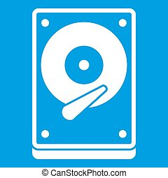HDD icon white isolated on blue background  illustration