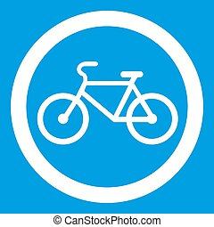 Travel by bicycle is prohibited traffic sign icon white...