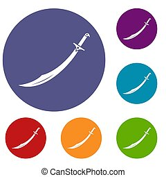Scimitar sword icons set in flat circle red, blue and green...