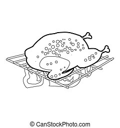 Chiken cooked on a barbecue icon outline - Chiken cooked on...
