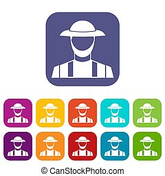 Farmer icons set illustration in flat style in colors red,...