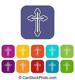 Crucifix icons set illustration in flat style in colors red,...