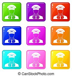 Pilot set 9 - Pilot icons of 9 color set isolated...