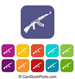 Submachine gun icons set illustration in flat style in...