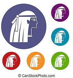 Egyptian girl icons set