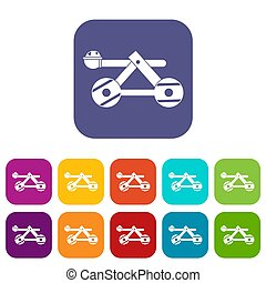 Ancient wooden catapult icons set illustration in flat style...