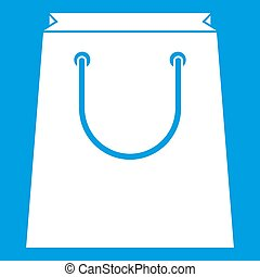 Paper shopping bag icon white isolated on blue background...