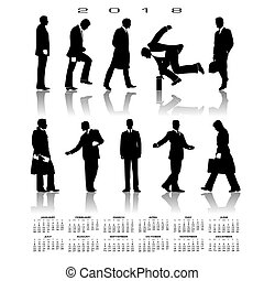 A 2018 calendar with 10 businessmen silhouettes for print or...