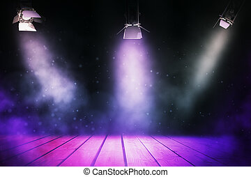 Show concept - Abstract stage illuminated with spotlights....
