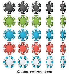 Poker Chips Vector. Flip Different Angles. Set Classic...
