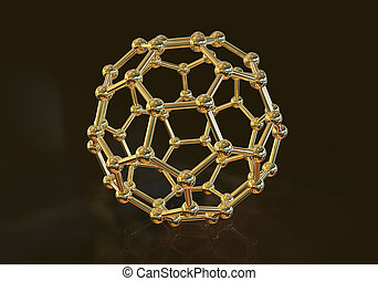 Nanoparticle, close-up vew - 3D illustration of nanoparticle...