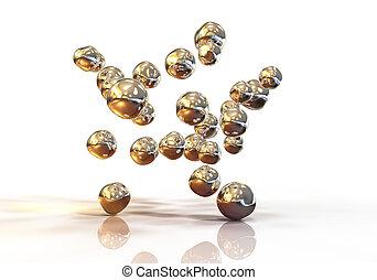 Gold nanoparticles illustration - Gold nanoparticles, 3D...