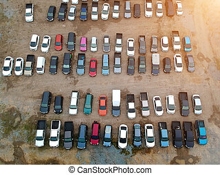 Car parking lot On a rug surface or rock surface. viewed from above