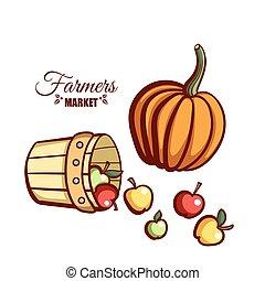 Farmers Market Apples Pumpkin - Farmers market. Local food....
