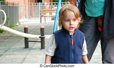 Cute moody toddler pouting lips - Medium shot of angry...