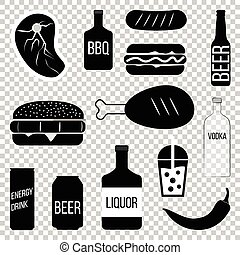 Food and drinks icons set