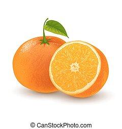 Orange fruit - Fresh ripe orange or tangerine whole with...