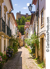 Tomar Street - Narrow street of picturesque city of Tomar in...