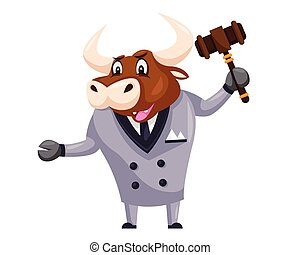 Cute Auction Bull Cartoon Character