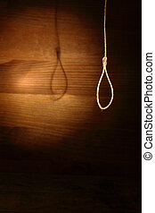 Loop For Execution - Rope loop hanging on gloomy wooden...