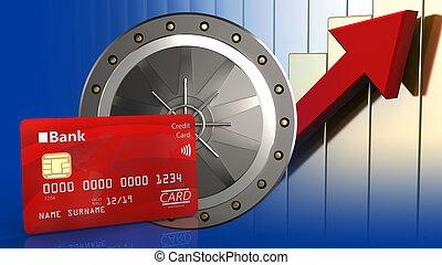 3d bank card - 3d illustration of valut door over rising...