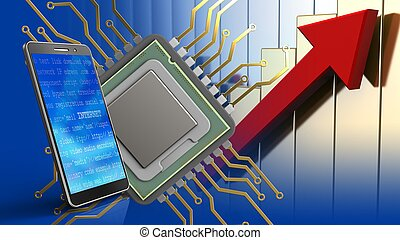 3d of cpu - 3d illustration of cpu over rising charts...