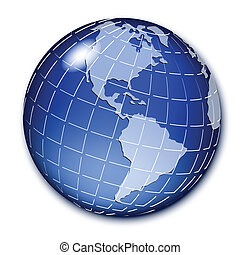 blue globe - Illustration, transparent blue globe on white...