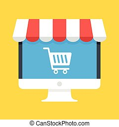 Computer with white shopping cart icon on screen and storefront awning. Ecommerce, online shopping, e-commerce, internet marketplace concepts. Modern flat design. Vector illustration