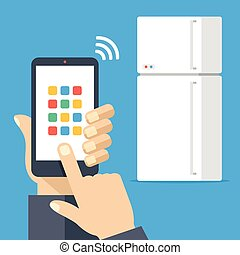 Fridge controlled via smartphone with wifi. White...