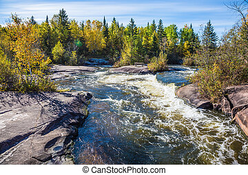 Old Pinawa Dam Provincial Heritage Park. Warm autumn day....