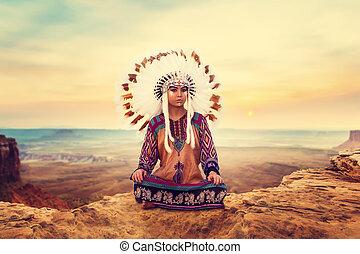 American Indian girl sitting in yoga pose - American Indian...