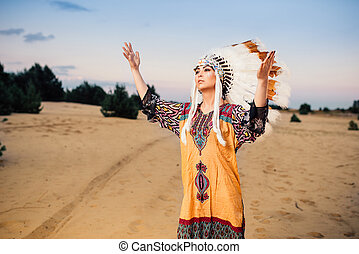 American Indian woman hands up, ritual, ritualistic ceremony...
