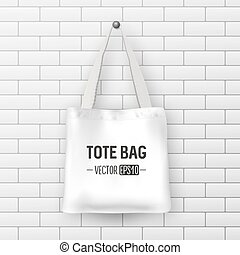 Realistic vector white textile tote bag. Closeup on brick...