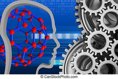 3d blank - 3d illustration of molecular structure over cyber...