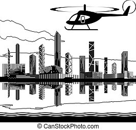 Sightseeing helicopter tour - vector illustration