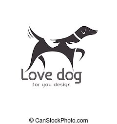 Vector of human hand that hugs the dog on white background....