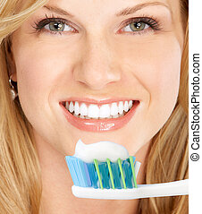 Healthy teeth - Smiling young woman with healthy teeth...