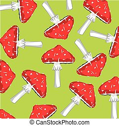 Background from fly agaric - Mushrooms fly agarics on green...