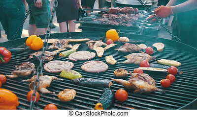 Cooking Barbecue Delicious and Vegetables on the Grill -...