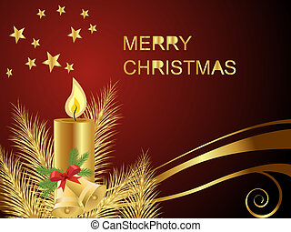 christmas card - vector illustration of a candle on a...