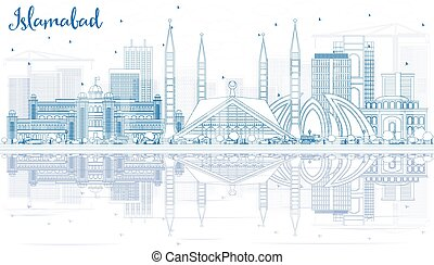 Outline Islamabad Skyline with Blue Buildings and...