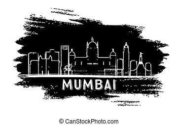 Mumbai India Skyline Silhouette. Hand Drawn Sketch.